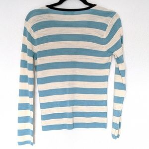 Doncaster Sweaters - Doncaster 3/4 Zip Front Cardigan Blue Cream Stripe
